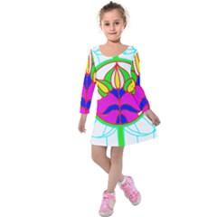 Pattern Template Stained Glass Kids  Long Sleeve Velvet Dress