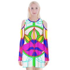 Pattern Template Stained Glass Velvet Long Sleeve Shoulder Cutout Dress