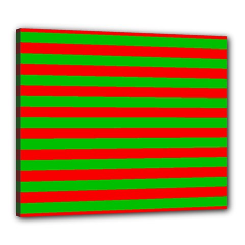 Pattern Lines Red Green Canvas 24  x 20