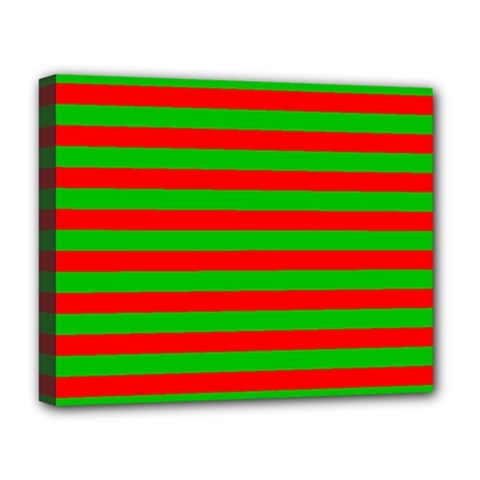 Pattern Lines Red Green Deluxe Canvas 20  x 16