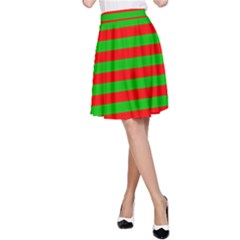 Pattern Lines Red Green A-Line Skirt