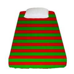 Pattern Lines Red Green Fitted Sheet (single Size)