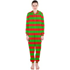 Pattern Lines Red Green Hooded Jumpsuit (Ladies)