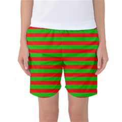 Pattern Lines Red Green Women s Basketball Shorts