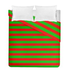 Pattern Lines Red Green Duvet Cover Double Side (full/ Double Size)