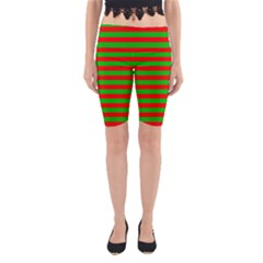 Pattern Lines Red Green Yoga Cropped Leggings