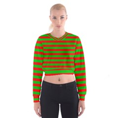 Pattern Lines Red Green Women s Cropped Sweatshirt