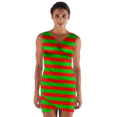 Pattern Lines Red Green Wrap Front Bodycon Dress