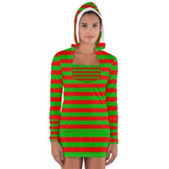 Pattern Lines Red Green Women s Long Sleeve Hooded T-shirt