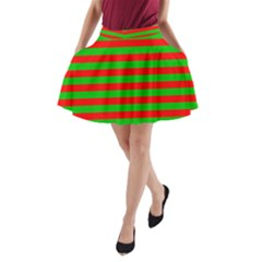 Pattern Lines Red Green A-Line Pocket Skirt