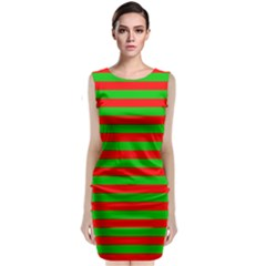 Pattern Lines Red Green Classic Sleeveless Midi Dress