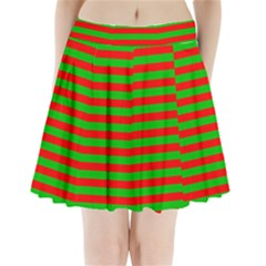 Pattern Lines Red Green Pleated Mini Skirt