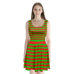 Pattern Lines Red Green Split Back Mini Dress