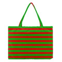 Pattern Lines Red Green Medium Tote Bag