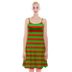 Pattern Lines Red Green Spaghetti Strap Velvet Dress