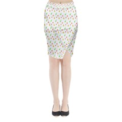 Fruit Pattern Vector Background Midi Wrap Pencil Skirt