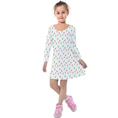 Fruit Pattern Vector Background Kids  Long Sleeve Velvet Dress
