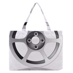 Car Wheel Chrome Rim Medium Zipper Tote Bag