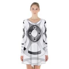 Car Wheel Chrome Rim Long Sleeve Velvet V Neck Dress