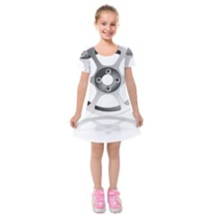 Car Wheel Chrome Rim Kids  Short Sleeve Velvet Dress