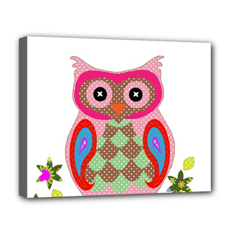 Owl Colorful Patchwork Art Deluxe Canvas 20  x 16