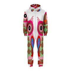 Owl Colorful Patchwork Art Hooded Jumpsuit (Kids)