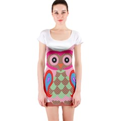 Owl Colorful Patchwork Art Short Sleeve Bodycon Dress
