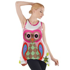 Owl Colorful Patchwork Art Side Drop Tank Tunic