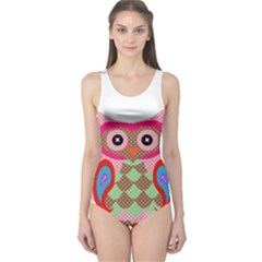 Owl Colorful Patchwork Art One Piece Swimsuit