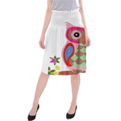Owl Colorful Patchwork Art Midi Beach Skirt