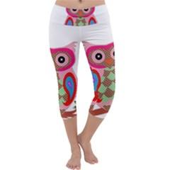 Owl Colorful Patchwork Art Capri Yoga Leggings