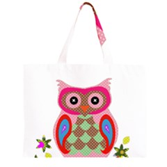 Owl Colorful Patchwork Art Large Tote Bag