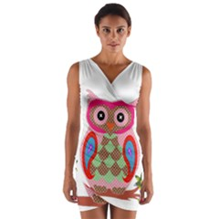 Owl Colorful Patchwork Art Wrap Front Bodycon Dress