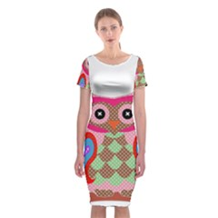 Owl Colorful Patchwork Art Classic Short Sleeve Midi Dress