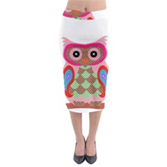 Owl Colorful Patchwork Art Midi Pencil Skirt