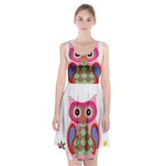 Owl Colorful Patchwork Art Racerback Midi Dress