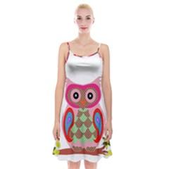 Owl Colorful Patchwork Art Spaghetti Strap Velvet Dress