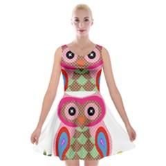 Owl Colorful Patchwork Art Velvet Skater Dress