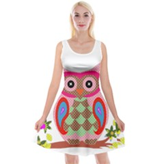 Owl Colorful Patchwork Art Reversible Velvet Sleeveless Dress