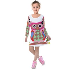 Owl Colorful Patchwork Art Kids  Long Sleeve Velvet Dress