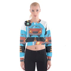 Semaphore Car Road City Traffic Women s Cropped Sweatshirt