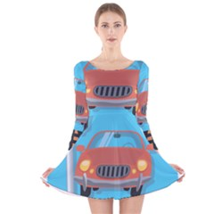 Semaphore Car Road City Traffic Long Sleeve Velvet Skater Dress