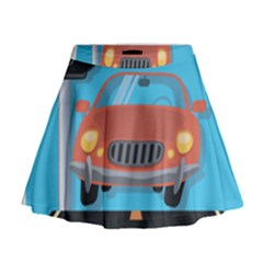 Semaphore Car Road City Traffic Mini Flare Skirt