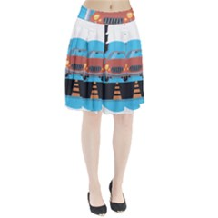 Semaphore Car Road City Traffic Pleated Skirt