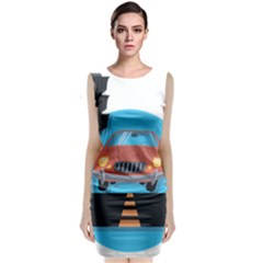 Semaphore Car Road City Traffic Sleeveless Velvet Midi Dress