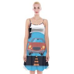 Semaphore Car Road City Traffic Spaghetti Strap Velvet Dress