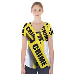 Internet Crime Cyber Criminal Short Sleeve Front Detail Top