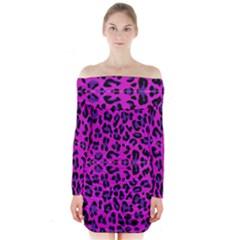 Pattern Design Textile Long Sleeve Off Shoulder Dress