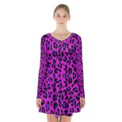 Pattern Design Textile Long Sleeve Velvet V Neck Dress
