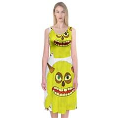 Monster Troll Halloween Shudder Midi Sleeveless Dress
